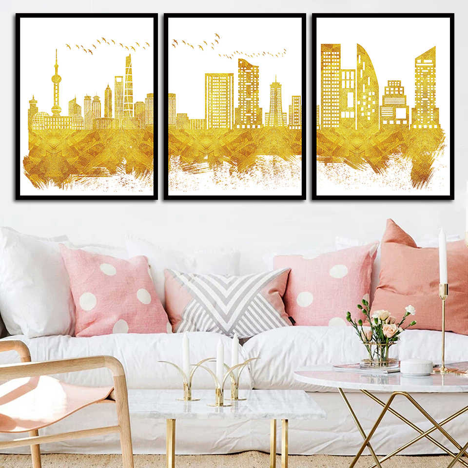 Canvas Art Print Golden Abstract Skyline Painting City Building Pictures Living Room Fashion Wall Nordic Style Poster Home Decor