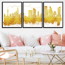 Canvas Art Print Golden Abstract Skyline Painting City Building Pictures Living Room Fashion Wall Nordic Style Poster Home Decor(China)