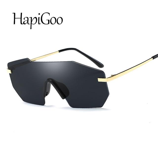 HAPIGOO 2019 Nouveau Hommes Vintage Bouclier Sans Monture Carré lunettes de  Soleil Femmes Mode Italie Marque