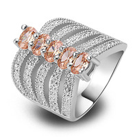 Free Shipping Morganite 925 Silver Ring Size 6 7 8 9 10 Expecial Exalted New Fashion Jewelry Gift  For Women Wholesale