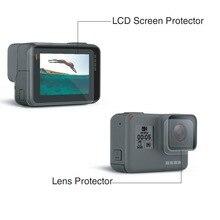 Caso Da Tampa Do Protetor de Vidro temperado Para GoPro Ir pro Hero5 Hero6 Hero 5 6 Preto Lente Da Câmera Tela LCD Clear Protective Film