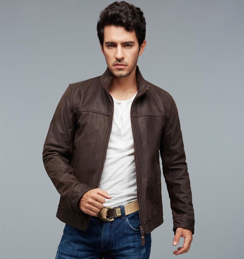 factory brown nubuck genuine leather jackets men real calf cow skin brand male bomber motorcycle. Black Bedroom Furniture Sets. Home Design Ideas