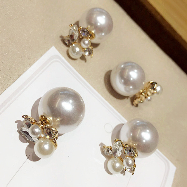 Crystal Pearl Double Sided Earrings Temperament Korean Fashion Female