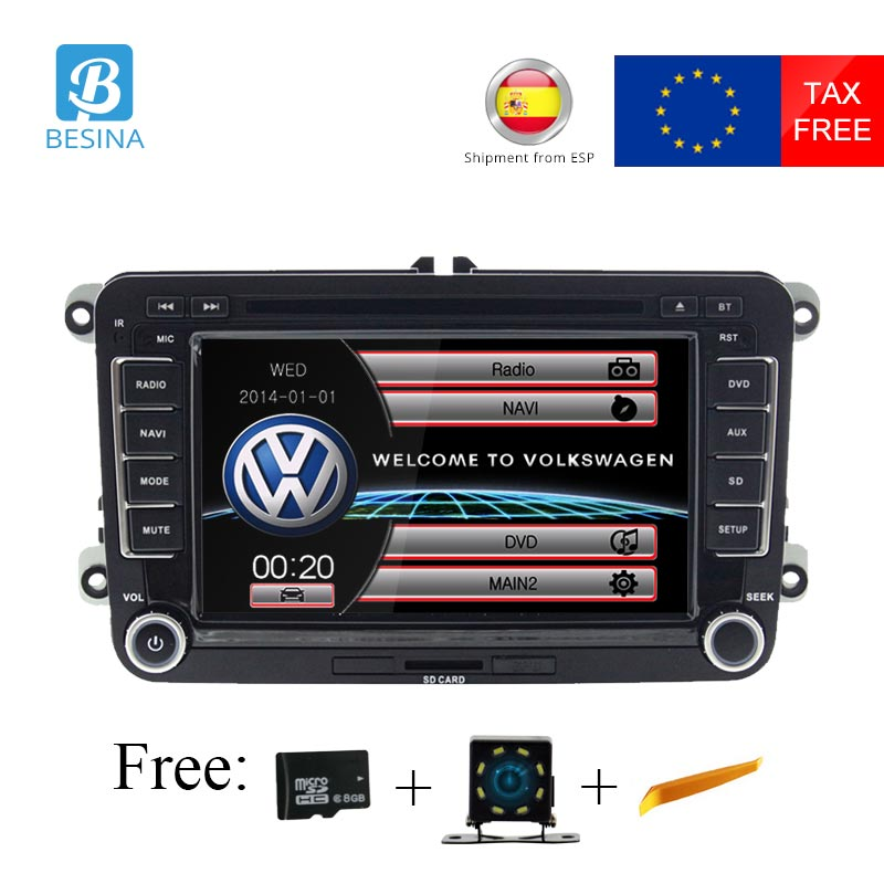 Besina <font><b>7</b></font> Inch 2 din Car DVD player for Volkswagen <font><b>VW</b></font> Volkswagen Passat POLO <font><b>GOLF</b></font> Skoda Seat Leon GPS Navigation radio stereo <font><b>USB</b></font> image