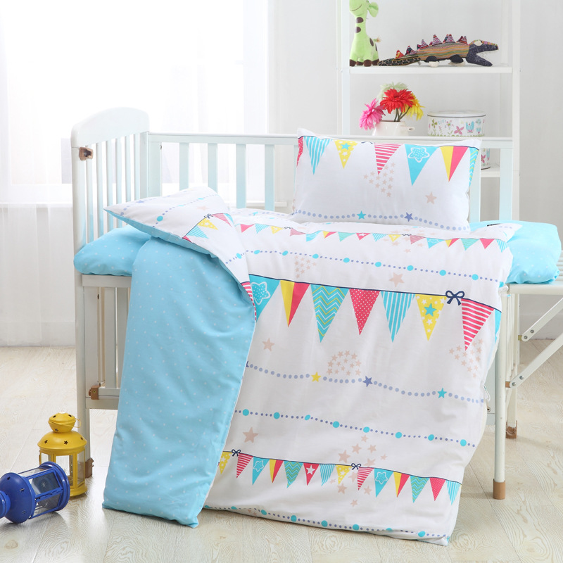 все цены на Hot Flag Clouds Small trees crib bed 100% cottotton 3pcs/set baby Bedding set pillow case+bed sheet+duvet cover without filling онлайн