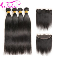 SOKU Hair Brazilian Straight 4 Bundles With Frontal Human Hair Weave 13*4 Lace Frontal With Bundle Non Remy Hair