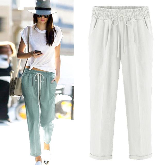 women Harem pants, long cotton linen trousers leggings, casual linen pants hip hop