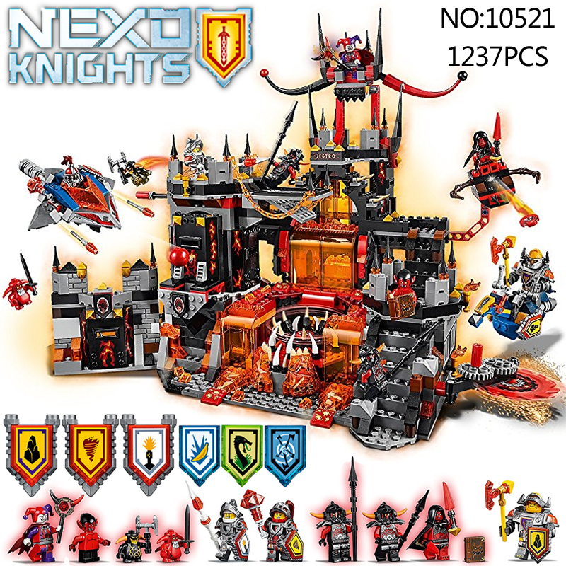 1237Pcs 10521 Nexus Knights Chevaliers Axl Jestros Volcano Lair assemblage Marvel Model Building Block Compatible 70323 bricks lepin nexo knights jestros volcano lair combination marvel building blocks kits toys compatible legoings nexus legoings