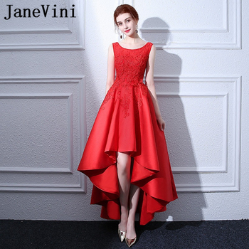 JaneVini Elegant Red High Low Long Bridesmaid Dresses A Line Satin Scoop Neck Lace Applique Beads Floor Length Formal Prom Gowns