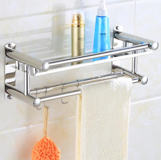 40cm 2 Layer Stainless Steel Bathroom Rack Towel Rack Bathroom Storage Shelf With Hook In