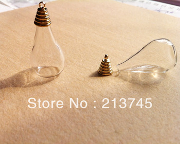 Free ship !!! 2013 NEW 50sets/lot   hot 30x18mm bulb glass cover vials with Golden cap   DIY glass ball cover