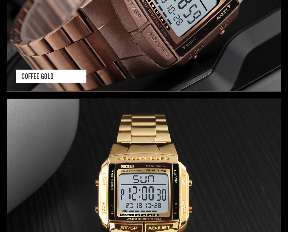 SKMEI Sports Watch Men Digital Watch Alarm Clock Countdown Watch Large Dial Glass Mirror Clock Fashion Outdoor Relogio Masculino 23
