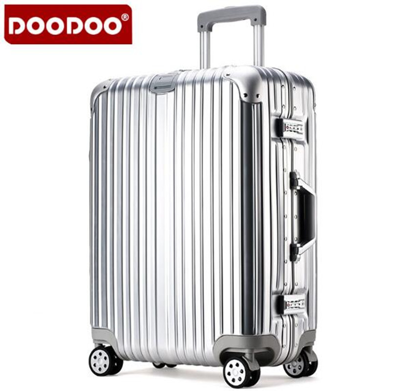DOODOO 20 inch 24 Aluminum  Rolling Luggage Boarding Spinner Wheel Suitcase With Brake ABS Luggage XL001