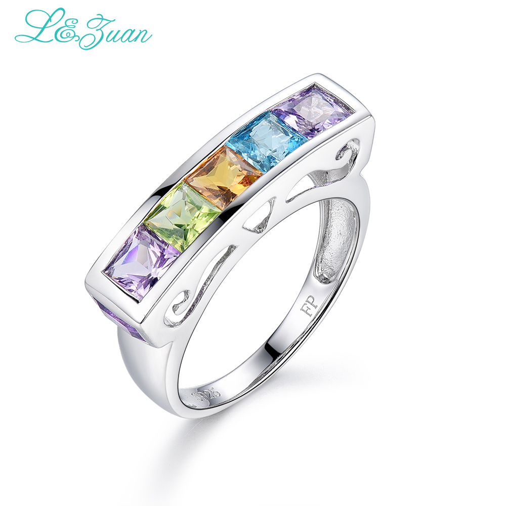 l&zuan 925 sterling silver Natural 1.03ct Amethyst Purple Stone Prong Setting Ring Jewelry for Gift Black Friday