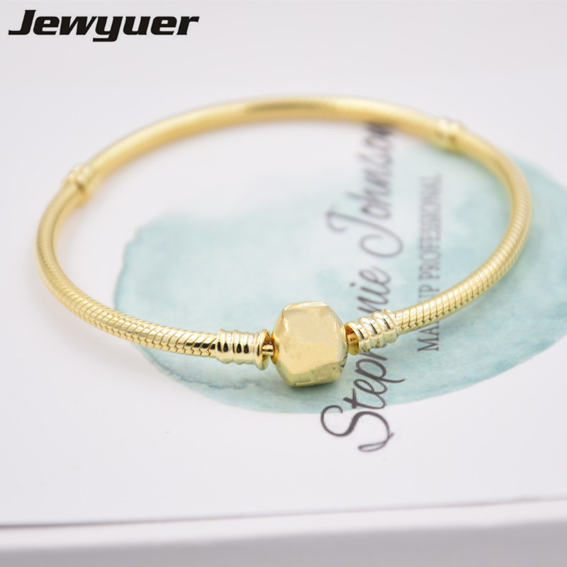 Gold Snake Chain Bracelet with Clasp fit Genuine 925 Sterling Silver Charms beads bracelets DIY Wholesale fine jewelry YL068Gold Snake Chain Bracelet with Clasp fit Genuine 925 Sterling Silver Charms beads bracelets DIY Wholesale fine jewelry YL068
