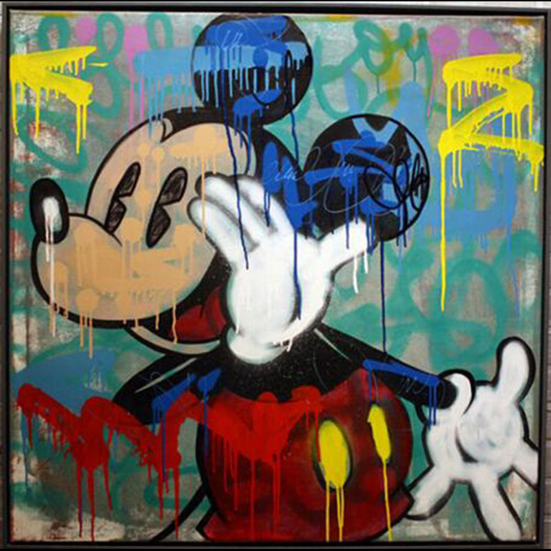 Handmade Alec Graffiti Mickey Mouse art Custom painting pop art street art urban art on canvaswall pictures for living room