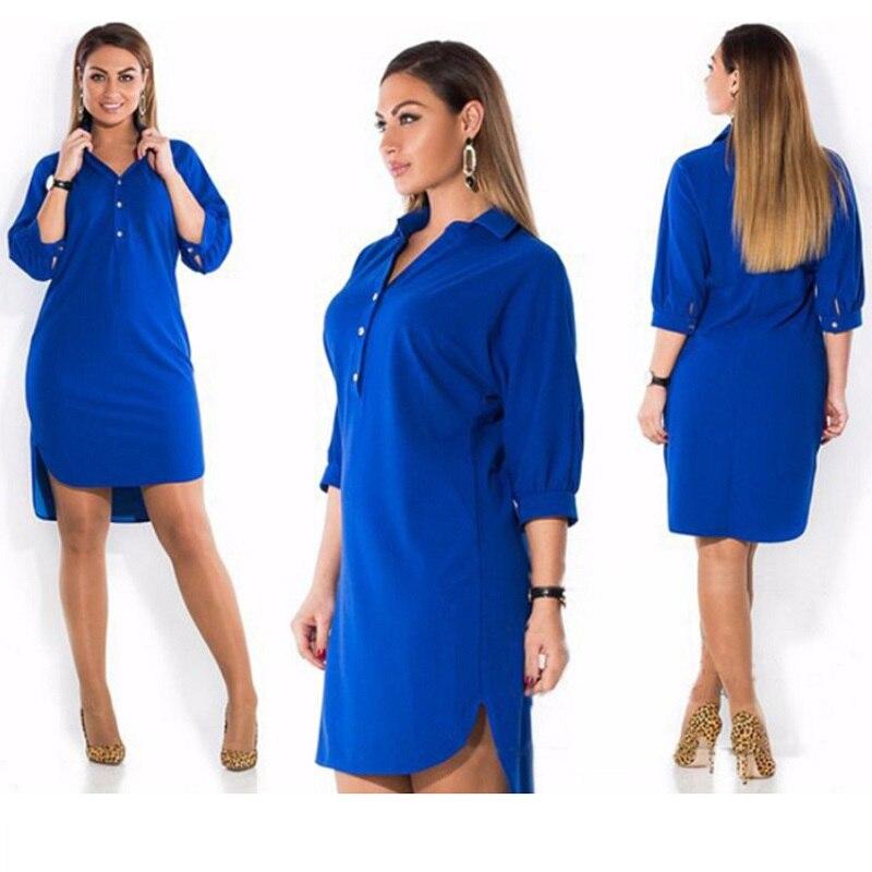 e3f6ec4dd4 plus size dress XXXL 4XL 5XL 6XL 2018 Summer New Women s Clothing Blue  Lapel Slit Irregular