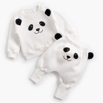 Winter Baby's Cartoon Animal Printed Sweatshirt with Pants Set 6