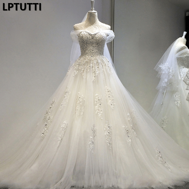 LPTUTTI Crystal Embroidery Beading New Sexy Princess Bridal Marriage Gown Bride Simple Party Events Long Luxury Wedding Dresse