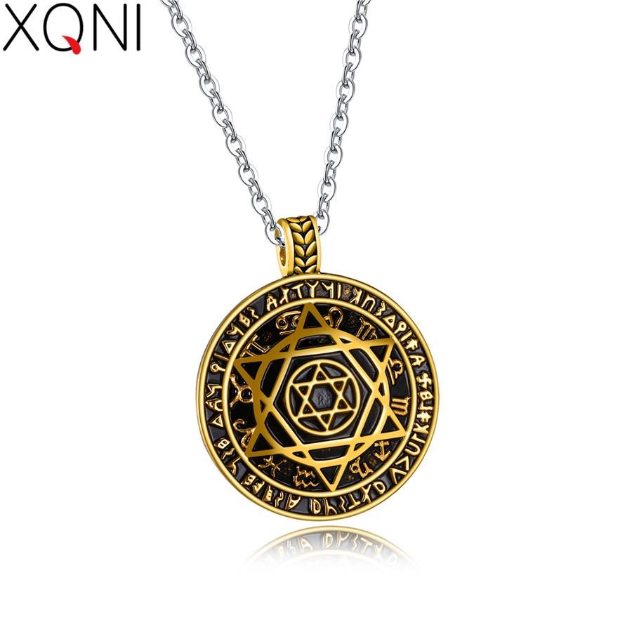 XQNI Magnificent Big Circle Pentagram Star Pendant Necklace Men Stainless Steel Trendy Men's Necklace Gift