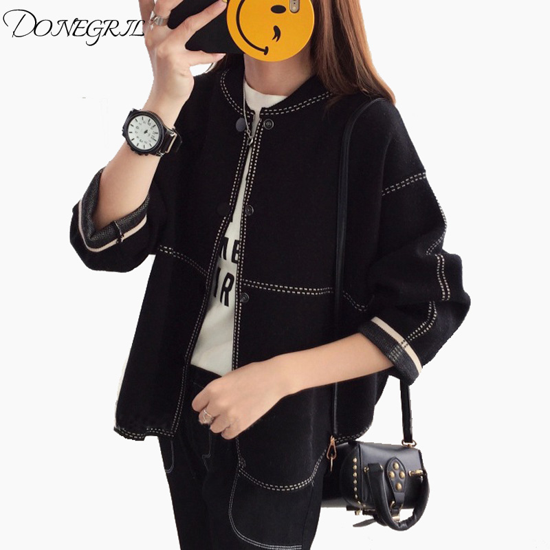 2018 Autumn and Winter New Round Neck Cashmere Cardigan Woman Thick Coat Loose Wool Knit Short Plaid Sweater