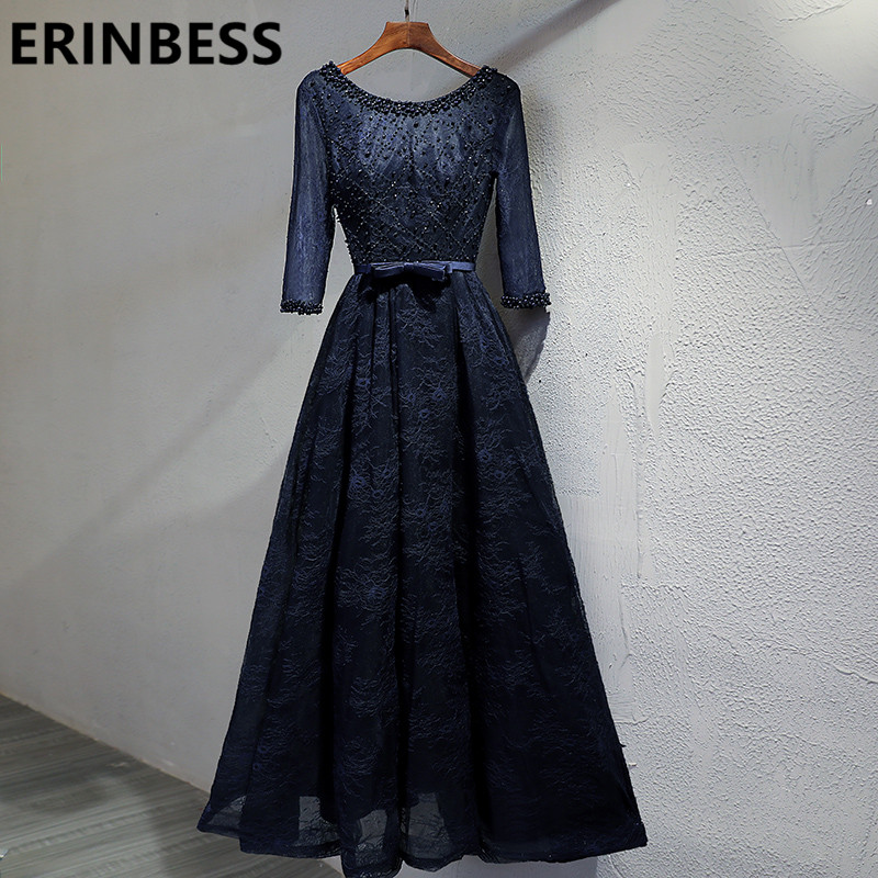 Navy Blue Vestido De Festa Vintage Lace Beaded African   Prom     Dresses   A Line Scoop Neck 3/4 Sleeve Evening Gowns Real Photos