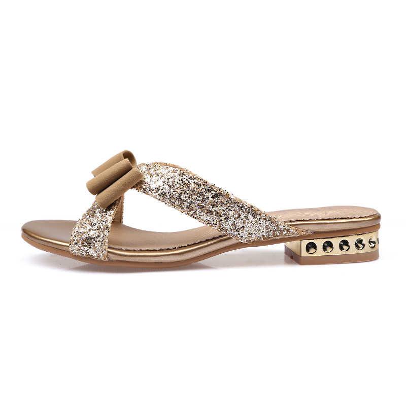 Ekoak Nova Moda Das Sandálias Das Mulheres Senhoras Sexy Cristal Bling Vestido de Festa Bowtie Sapatos Mulher Da Praia do Verão Sapatos Meninas Slides