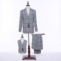 mens suits wedding groom Light Gray Plaid Pattern Men Wedding Suits Groom Tuxedos Formal Business Suits Custom Coat pants vest
