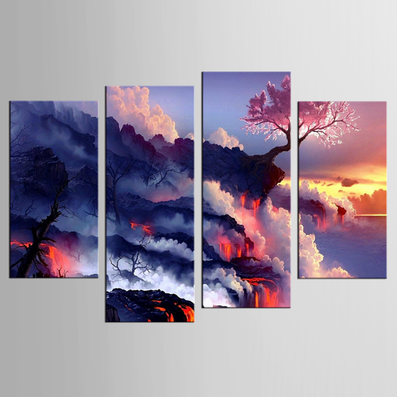 4 panel framed volcanic cloud landscape painting wall murals artist decoration living room canvas printing modern