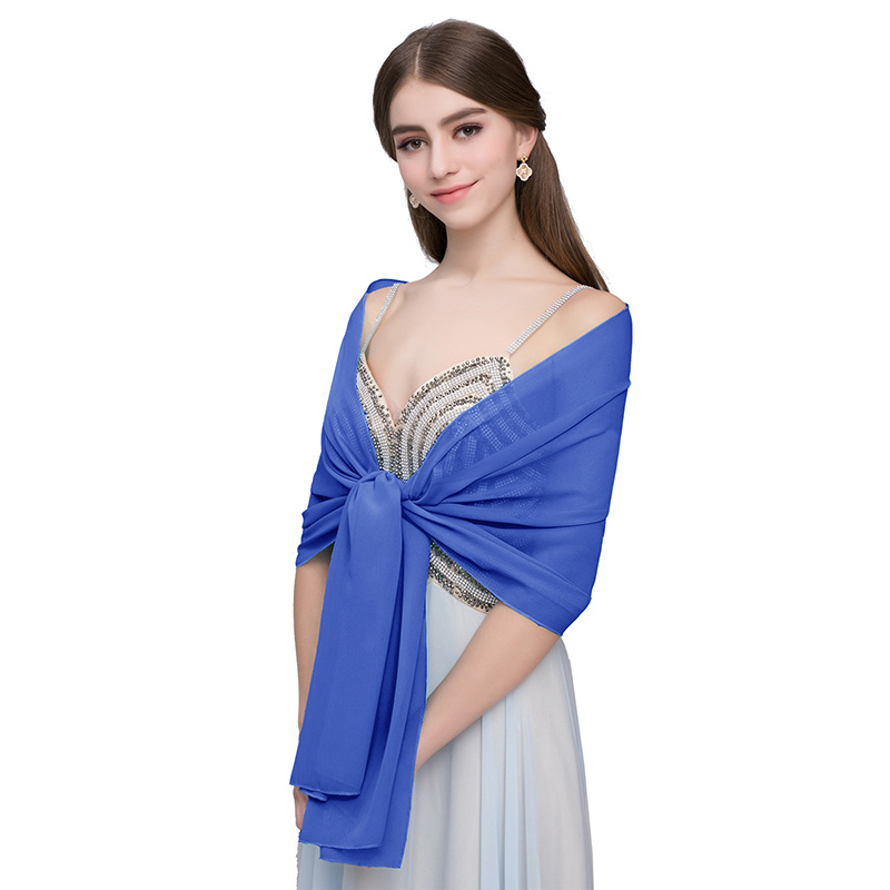 Купить с кэшбэком New Summer Chiffon Stole Bridal Wedding Shawl Wrap Cape Women Bolero Shrug Scarf Wedding Accessories