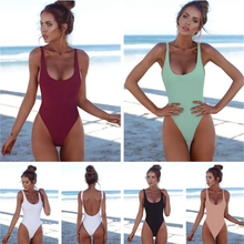 0c67bd28ed bikini 2019 high waist One-Piece suits thong Bikini Women Solid Swimwear  Backless Brazilian Swimming