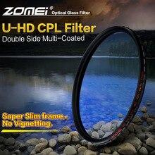 Zomei filtro de vidro óptico hd, filtro de vidro óptico revestido, multi polarizador circular fino, lente polarizadora 40.5/49/52/55/58/62/67/72/77/82mm