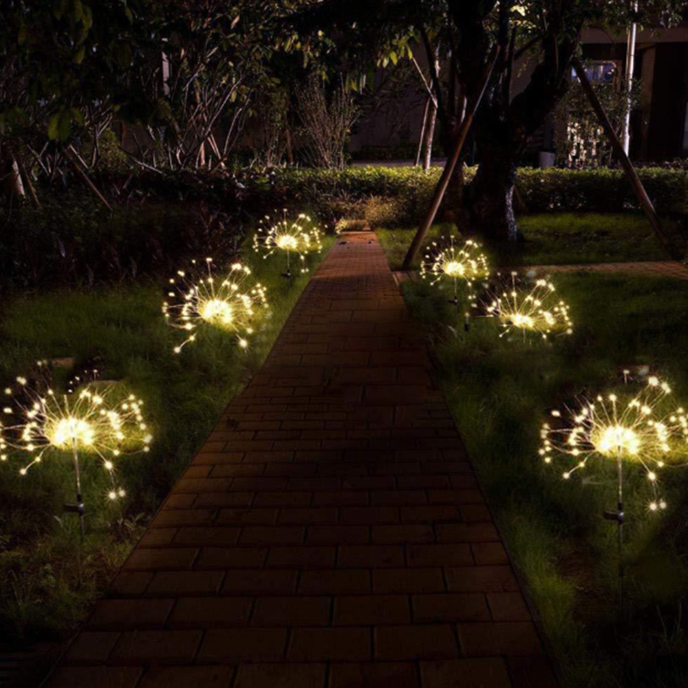 Christmas Lights Fairy Light Solar Powered Fireworks Starburst Lights Led Outdoor Garden String Light
