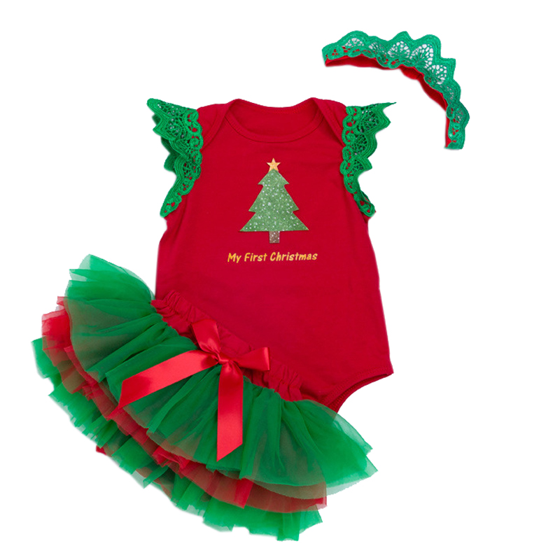 1 Year Christmas Sets Baby Girl Clothes Sets Bebes Xmas Tutu Outfits for Girls Bodysuit Lace Tutu Skirt Red Green Fashion Suits red minnie children suits long sleeve newborn baby girl summer clothes bodysuit tutu skirt sets infant clothing toddler outfits