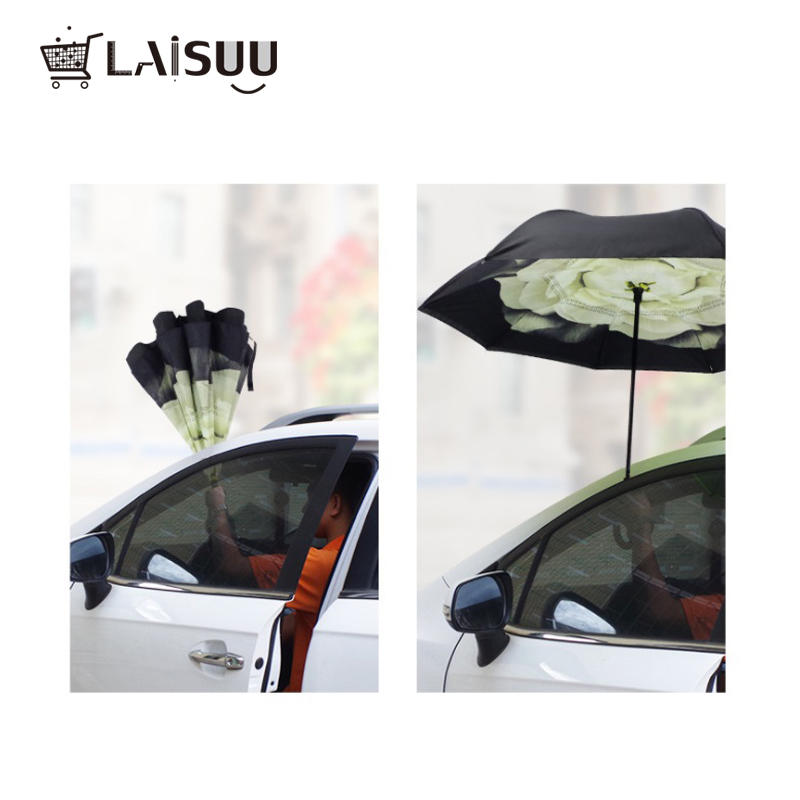 Fashion Windproof Reverse Folding Double Layer Inverted Rain Umbrella Self Stand Rain Protection C Hook Hands For Car in Umbrellas from Home Garden
