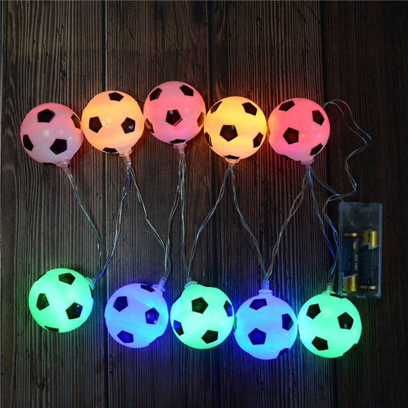LED String Lights Garland  Decoration For Party Kids Birthday Christmas Decoration AA Battery Powered Football