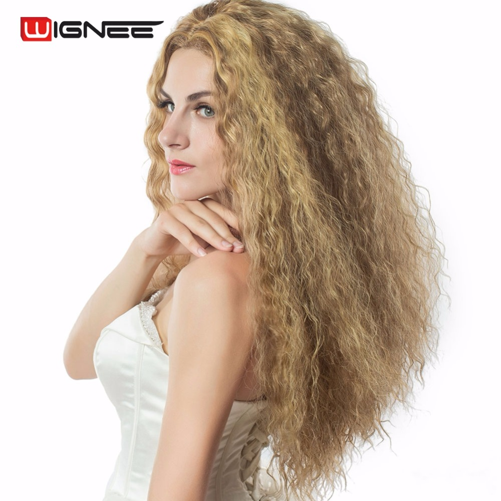 Wignee Mixed Ash Blonde High Temperature Synthetic Fiber Women Wigs Kinky Curly Cosplay Halloween Hair Wig