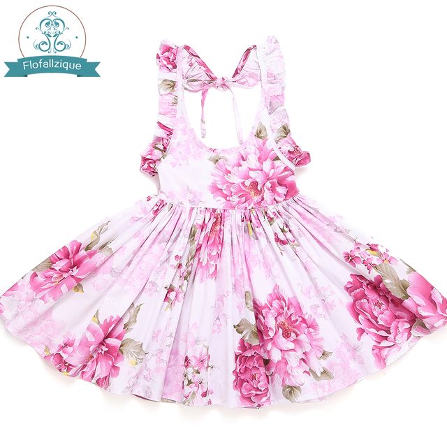 336ca91a51f6e US $11.99 |Baby Girl Dress 2018 Brand Summer Cotton Backless Floral Party  Wedding Princess Kids Dresses For Girls Clothes vestidos -in Dresses from  ...