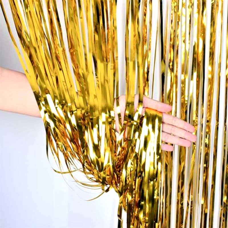 Table Skirt Gold silver Tinsel Curtain Wedding Anniversary Christmas kids adult birthday baby shower new year Table Decoration