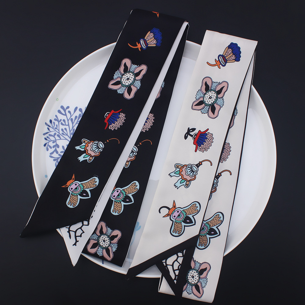 2018 Lengthen bee simulation small silk   scarf     wrapped   around the streamer Head   Scarf   Handle Bag Ribbon Long   Scarves