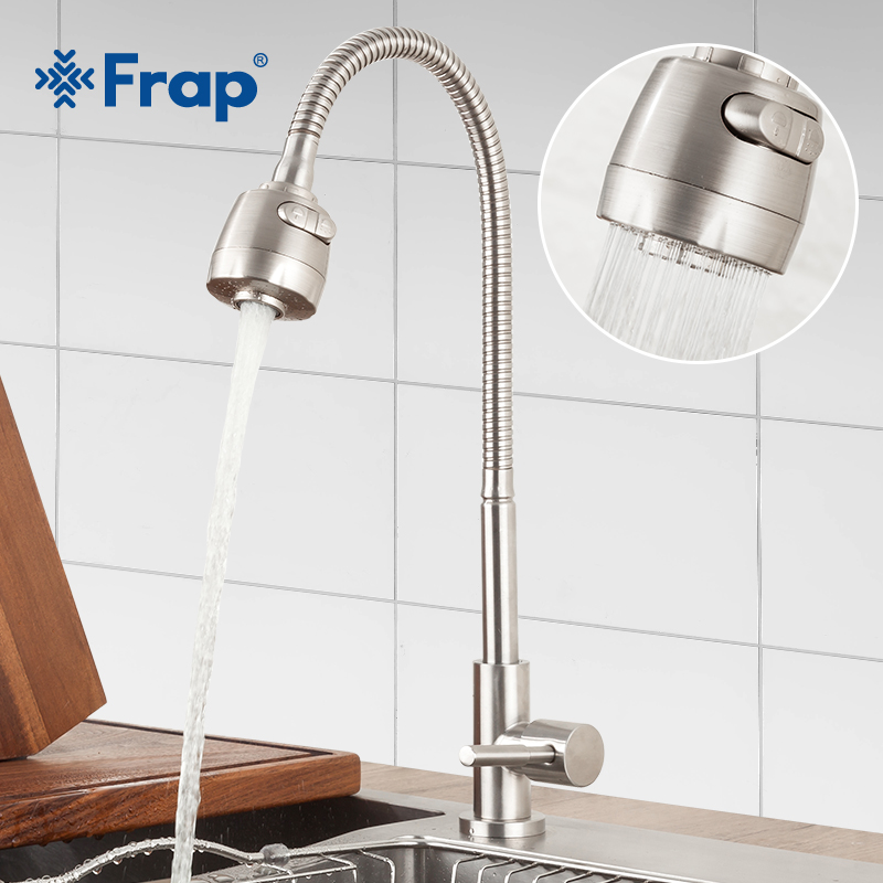 FRAP Kitchen Faucet Deck Mounted Water Mixer Taps Stainless Steel Kitchen Faucet Sink Cold Faucet Grifo Cocina