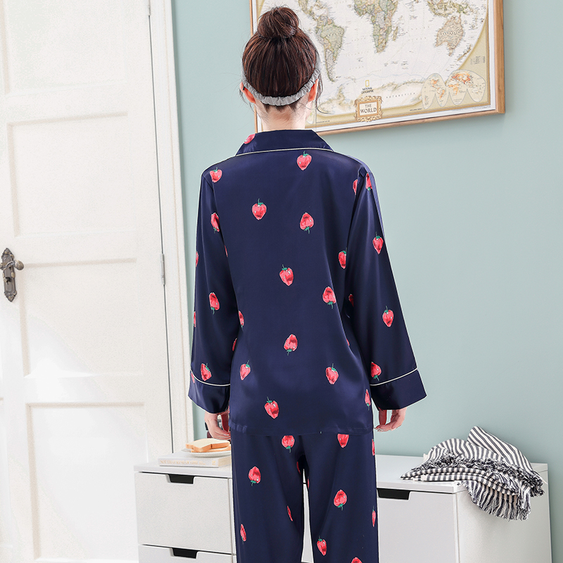 Image 3 - Mulheres de Cetim de Seda Pijamas Pijamas Set Design Bonito 2019 pcs 2 Noite Camisas Calças Desgaste Casa Para A Menina Feminino Sleepwear ternoConjuntos de pijama   -