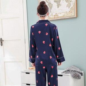 Image 3 - Women Silk Satin Pajamas Pyjamas Set 2019 Cute Design 2 Pcs Night Shirts Pants Home Wear For Female Girl Sleepwear Suit