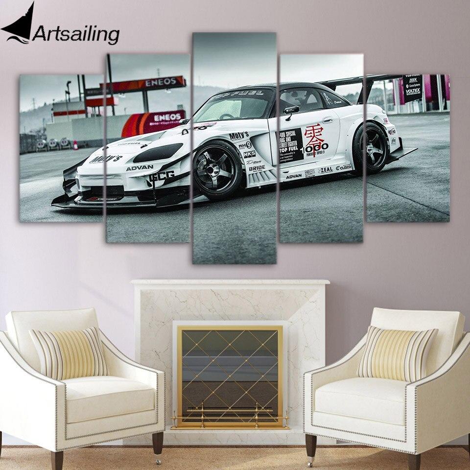 5 шт. холст картины спортивный гоночный автомобиль авто HD плакаты и отпечатки холст картины для гостиной Бесплатная доставка/xa-1778a