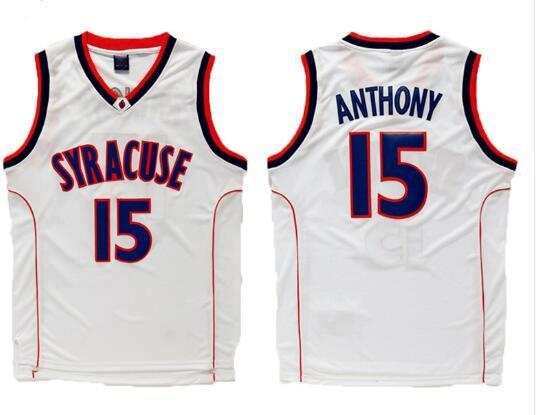 Carmelo Anthony 15 Syracuse University College Basketball Jerseys Stitched  Men Basketball shirt White Orange Black 0f025124b