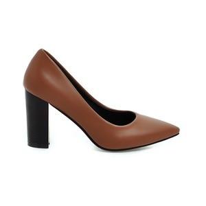 Image 4 - Hot Sale Brand New Glamour Beige Brown Women Dress Pumps Black Square Heels Lady Casual Shoes AC357 Plus Big Size 4 10 33 43