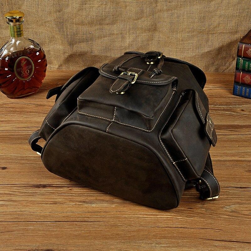 Rucksack Männer Daypack 100 deep Brown Brwon coffee Rindsleder red Echtem Brown ''männlichen Reise Leder Taschen Horse Tasche Schule Retro Laptop 14 Crazy wqERqZxCv