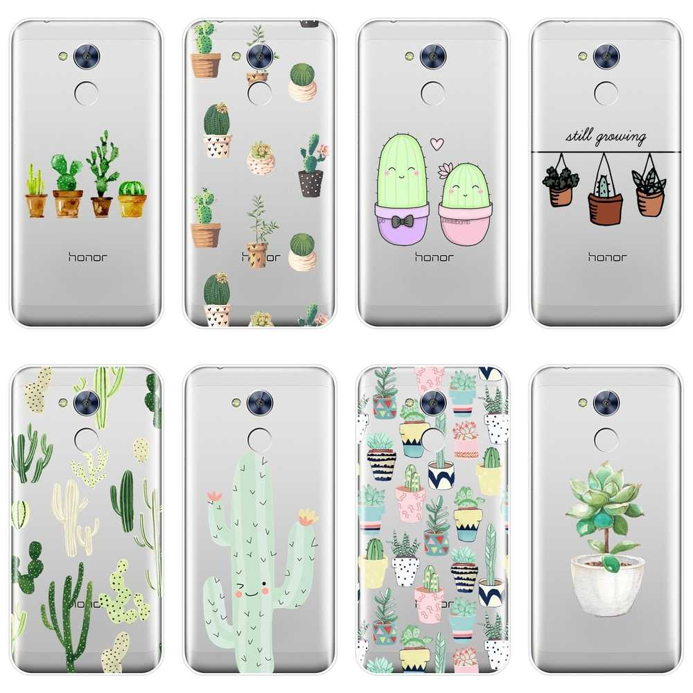 Silicone Phone Case For Huawei Honor 6 5A 4X 5X 6X Cactus Flora Flower Green Soft Back Cover For Huawei Honor 4C 5C 6A 6C Pro
