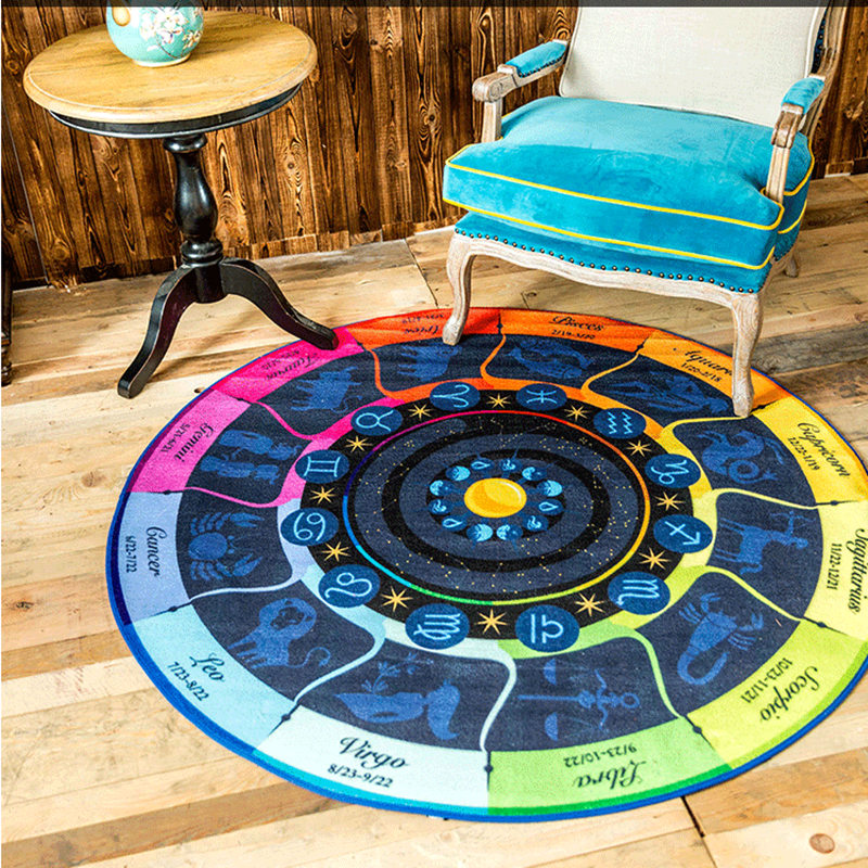 The zodiac Circle carpet computer chair cushion rug basket child cartoon blanket creative hallway mat 60/80/100/120/160cm pad