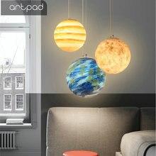 Artpad20/25/30/40CM Creative 3D Print Moon Light Lamp E27 LED Ball Pendant Lights for Restaurant Bedroom Living Room Dining Room